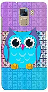 PrintVisa 3D-HH7-D7781 Girly Pattern Owl Case Cover for Huawei Honor 7