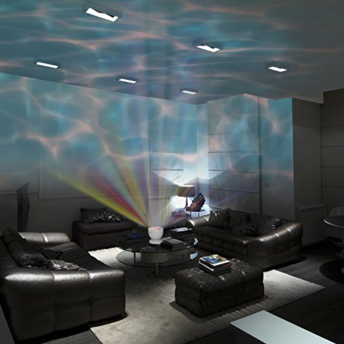 Gideon DreamWave Soothing Ocean Wave Projector LED Night Light with Built-in Stereo Speakers / (12 LED Bulbs - 3 Colors) Water Wave LED Ceiling Projector for Children - Connects with Any Audio Device (Aurora Master compare prices)