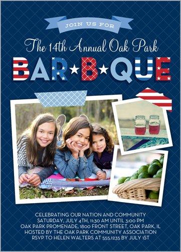 Patterned BBQ Summer Invitation Blue 5X7 Flat Card