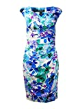 Lauren Ralph Lauren Floral-print Ruched Sheath Dress, Colonial Cream/blue/multi (6)