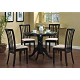 5 Pc Round Dining Table 4 Chairs Chair Set Cappuccino