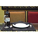Belle Maison Black Natural Bamboo Table Placemat With Co-Ordinated Napkins, Pack Of 4