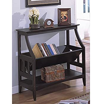 Metro Shop Antique Black Three-shelf Solid Wood Bookshelf