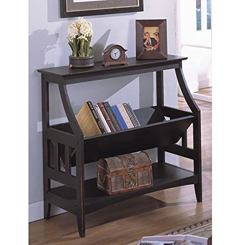 Metro Shop Antique Black Three-shelf Solid Wood Bookshelf 0