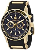 Invicta 1237 Men's Flight Gold Tone Rubber Strap Chronograph Watch