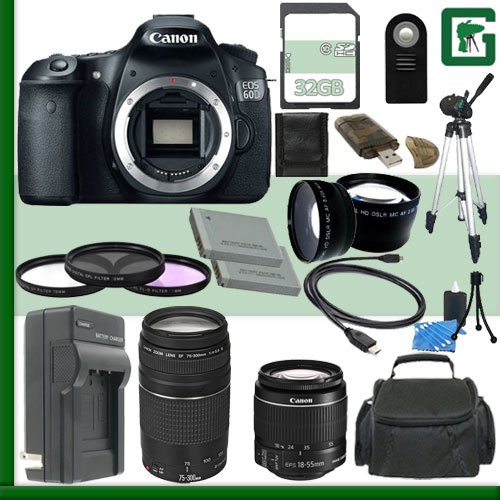 Canon Eos 60D Digital Slr Camera And Canon 18-55Mm Lens And Canon Ef 75-300Mm Iii Lens + 32Gb Green'S Camera Package 1