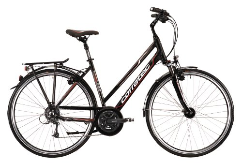 Corratec Damen Fahrrad Trekking Harmony Trapez, Schwarz/Weiß/Rot, 51, BK17094-0051