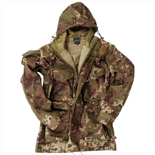 Army Smock Military Combat Parka Long Jacket Vegetato Woodland Camo