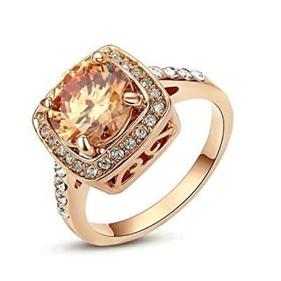 Yoursfs 3.5ct Simulated Diamond Engagement Rings Cubic Zirconia Shoulders 18k Rose Gold Plated