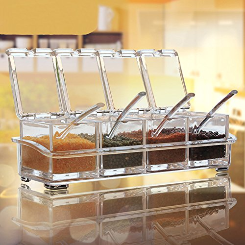 Clear Seasoning Rack Spice Pots by AIQI - 4 Piece Acrylic Seasoning Box - Storage Container Condiment Jars - Cruet with Cover and Spoon (Corn Starch Container compare prices)