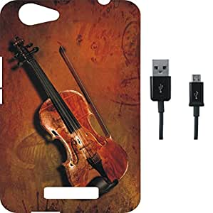 BKDT Marketing Printed Soft Back Cover Combo for Gionee S + Plus With Charging Cable