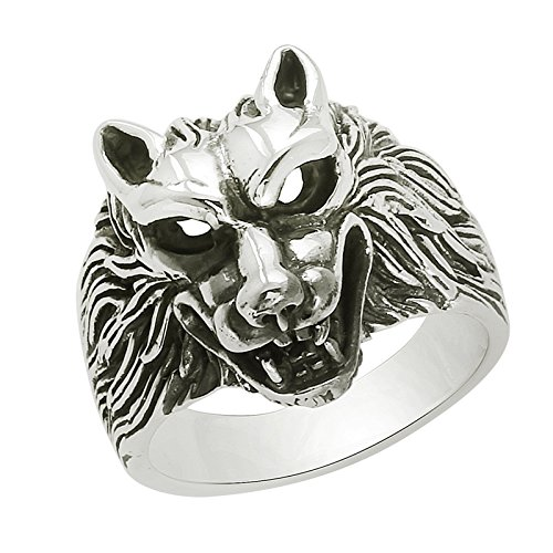 Werewolf Howling Out 925 Silver Ring