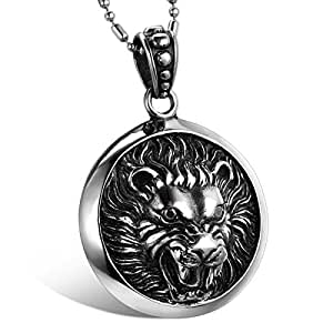 JewelryWe New Stainless Steel Tribal Biker Men's Lion King Pendant Necklace Birthday Christmas Gift Black (with Gift Bag)