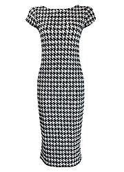 Online Fashion Store BLACK WHITE DOGTOOTH PRINT SHORT CAP SLEEVE MIDI DRESS PLUS SIZE 8-22