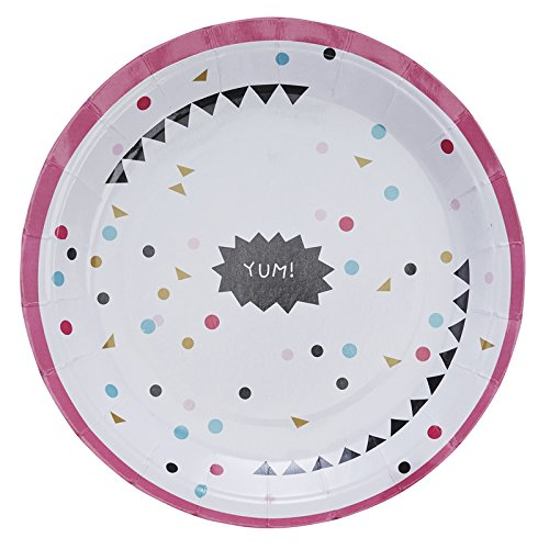 Ginger Ray YUM Paper Party Plates with Hot Pink - Confetti Party - 1