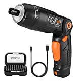 TACKLIFE Cordless Screwdriver, 3.6V Electric Rechargeable Screwdriver 2000Ahm Lithium Ion Battery MAX Torque 4N.m, 3 Flexible Position and 6 Torque Setting, Front LED and Rear Flashlight,SDH13DC (Color: Orange and Black, Tamaño: SDH13DC)