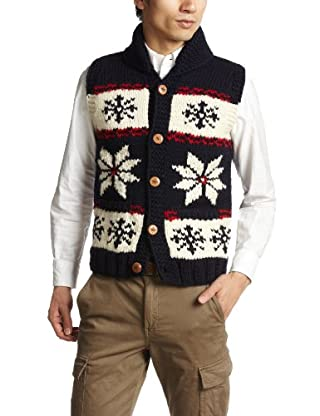 Canadian Sweater Company Snow Button Vest 09CN01: Navy / Red