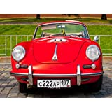 RED PORSCHE-CONVERTIBLE -D-1958 ON DISPLAY AT THE START ANNUAL RALLY OF CLASSICAL CARS ZOLOTOE KOL'CO ON RED SQUARE...