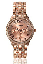 Geneva Platinum Studded Analog Rose Gold Dial Womens Watch - GP-131