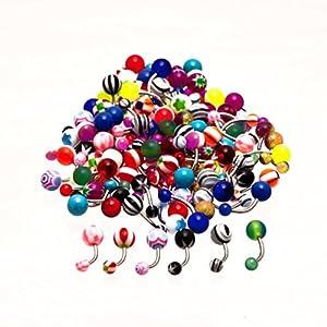 100 x Piercings pour nombril, couleurs gaiement assorties, barre 15mm par KurtzyTM