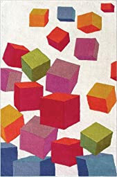 Area Rug, Beige Kids Colorful Cubes Soft Wool Carpet, 5\' X 8\'