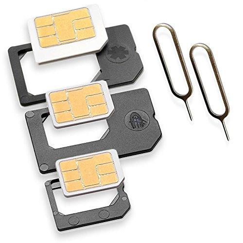 Nano Sim und Micro Sim Adapter KOMPLETT-SET (5er-SET) mit 2x Simnadel Eject...