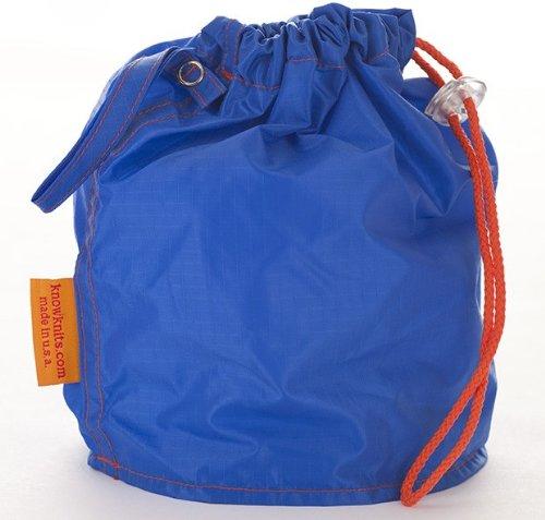 Blue Medium GoKnit Pouch Project Bag w/ Loop & Drawstring by KnowKnits