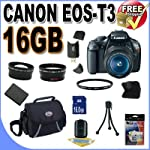 Canon EOS Rebel T3 12.2 MP CMOS Digital SLR with 18-55mm IS II Lens and EOS HD Movie Mode (Black)+ 58mm 2x Telephoto lens + 58mm Wide Angle Lens (3 Lens Kit!!!)W/16GB SDHC Memory +Extra Battery+UV Filter+Case+Accessory Kit