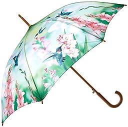 Passion for Fashion Hummingbird Automatic Open Cane Umbrella, Multi-colored, One Size