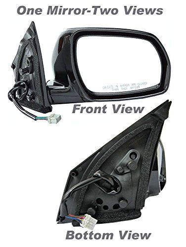 APDTY 0662859 Side View Mirror,Black Right Side/Passenger Side, Power, with Heat, Foldaway, without Auto Dimming, and not Extendable,Paint to Match Plastic Housing(Fits 2003-2004 Nissan Murano)Replaces OEM Part Number(s) 96301CA300
