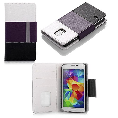 Mylife (Tm) Dark Byzantium Purple + White - Modern Design - Koskin Faux Leather (Card, Cash And Id Holder + Magnetic Detachable Closing) Slim Wallet For New Galaxy S5 (5G) Smartphone By Samsung (External Rugged Synthetic Leather With Magnetic Clip + Inter