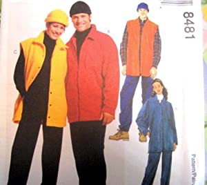 McCall's Sewing Pattern 8481 Misses' & Mens' Fleece Shirt-Jacket, Vest, Pull-on Pants & Hat, Size SM, MED, LG
