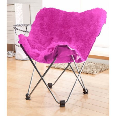 Your Zone Lux Shag Butterfly Chair Portable Seating