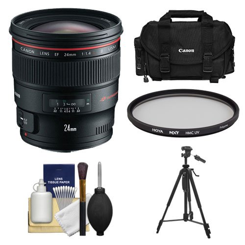Canon EF 24mm f/1.4L II USM Lens with Hoya UV Filter + Canon Case + Tripod + Cleaning Kit for EOS 6D, 70D, 5D Mark II III, Rebel T3, T3i, T4i, T5, T5i, SL1 DSLR Cameras