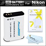 Battery Kit For Nikon COOLPIX P900, P610, P600 16.1 MP Wi-Fi Digital Camera Digital Camera Includes Extended Replacement (2200Mah) EN-EL23 Battery + LCD Screen Protectors + MicroFiber Cleaning Cloth
