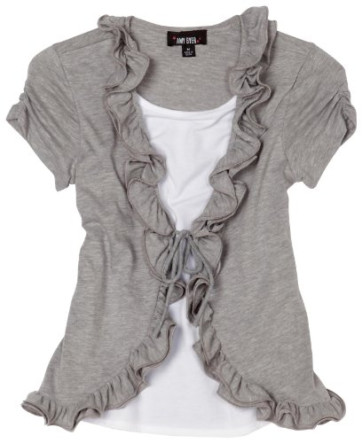 : Amy Byer Big Girls' Two-fer Wire Ruffle Front Cozy Tee