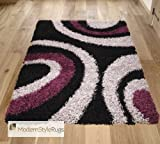 OC11 Thick Shaggy Rug Purple Black Big Modern Room Concepts 80 x 150cm