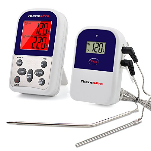 ThermoPro TP12 Digital Wireless Remote Kitchen Cooking Food Meat Thermometer with Timer, 300 Feet Range - Dual Probe for BBQ Smoker Grill Oven (Big Green Egg Thermometer Digital compare prices)