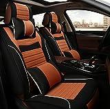 (ファーストクラス)FirstClass フォーシーズン カーシートカバー フルセット フロント リアシートカバー 滑り止めシート 車シート保護 エアバッグホールあり 腰クッション付き ヘッドレスト付き 腰痛みに対策 首ストレス緩和 リネンコットン製 通気性に富む 快適 5シート車汎用 10枚 ブラック&オレンジ