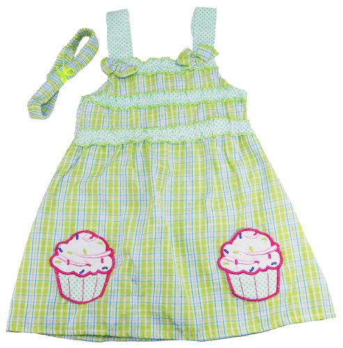 Coney Island Little Girl Lime Cupcake Sleeveless Sundress W/Headband Set back-271228