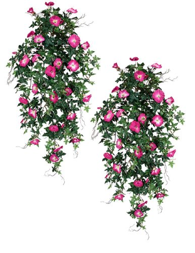 "TWO 40"" Morning Glory Artificial Hanging Flower Bushes, with No Pot,"