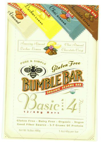 Bumblebar Gluten Free Organic Energy The Basic Box, Four Flavors, 1.4-Ounce Bars, 12-Count Box
