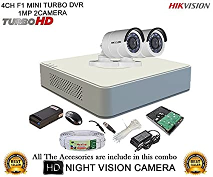 Hikvision-DS-7104HGHI-F1-Mini-4CH-Dvr,-2(DS-2CE16COT-IR)-Bullet-Cameras-(With-Mouse,-500GB-HDD,-Bnc&Dc-Connectors,Power-Supply,Cable)