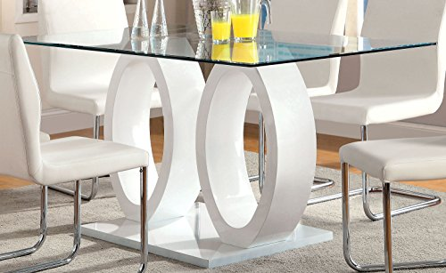 Furniture of America Quezon Glass Top Double Pedestal Dining Table, White (Dining Pedestal compare prices)