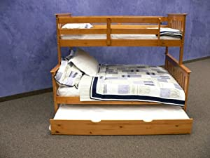 Bunk Bed Twin over Full Mission style in Honey with Twin Trundle by DONCO