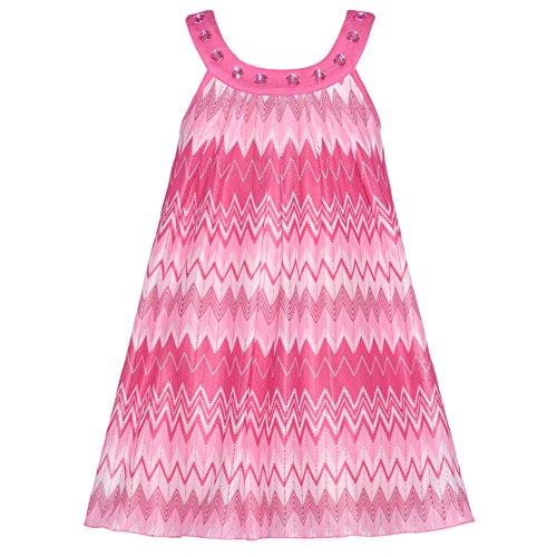 Lipstik Toddler Girls 2T Pink Chevron Knit Jeweled Trapeze Dress front-816658
