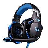 Amazon.co.jpEACH G2000 3.5mm ステレオ ゲーミング ヘッドフォン ヘッドセット ヘッドバンド マイク、音量調節機能、明るいLEDライト付き PCゲーム用( ブルー+ブラック )〔並行輸入品〕