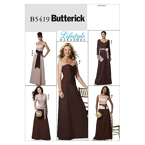 Butterick Patterns B5419 Misses' Top, Skirt and Sash, Size F5 (16-18-20-22-24)
