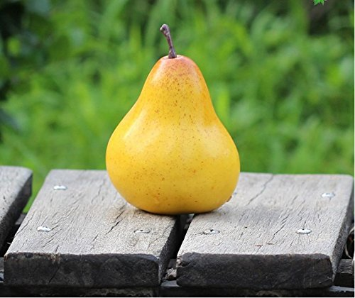 Lotte Shopping Artificial Fake Fruit Artificial Yellow Pear- Decorative Fake/Plastic Fruit (6Pcs)