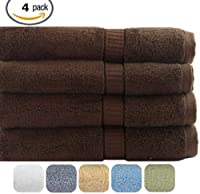 4 Thick and Thirsty Cotton Bath Towels 26x52 - Dark Brown